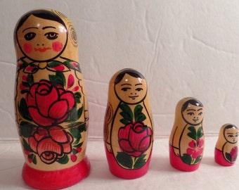Matryoshka nesting doll wood hand painted vintage Matryoshka dolls Russian style