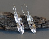 Garnet Earrings, Silver Feather Earrings, fold formed earrings