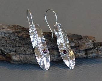 Garnet Earrings, Silver Feather Earrings, fold formed earrings