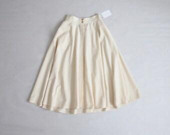 cream wool circle skirt | full wool skirt | full cream skirt