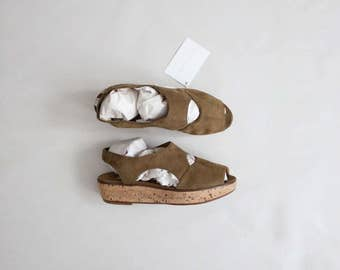 olive nubuck platforms | size 8.5 sandals | cork platforms