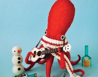 Print: Ukulele Octopus - red blue felt digital toy plush needlefelt