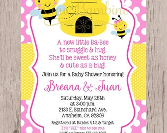 PRINTABLE Mommy to Bee Baby Shower Invitation / Print Your Own Bumble Bee Invitation / Bee Baby Shower in Pink and Yellow / You Print - 0032
