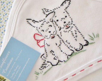 Twin Scotties - Hand Embroidered Hooded Swaddling Blanket - Vintage Style Baby Girl or Boy -  by Cornflower Creations