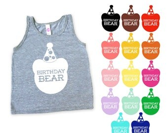 Birthday Bear Kids Toddler TriBlend Tank Top - Birthday Party Outfit, Family Photos, Little Bear, Birthday Gift, Mommy and Me