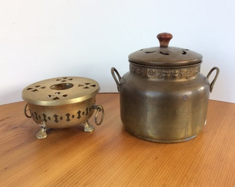 Brass Incense Canister & Tripod Dish. Vintage Potpourri Bowls. India Brass Container. Pierced Metal Pot Pourri Holders with Lids.