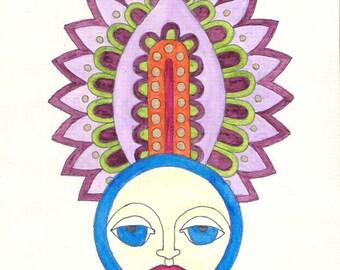 Moon wall art, female face wall art, woman wall art, moon art, female art, woman art, watercolor drawing, watercolor painting, original art