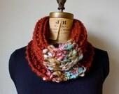 Chunky knit cowl neckwarmer Marsala light blue textured infinity scarf handmade knit wear