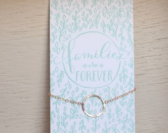 Families are Forever 14k Gold circle necklace