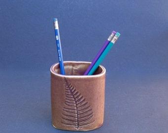 ceramic pencil holder with fern leaf impression . handmade pottery desk accessory