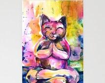 "Cat Art Cards,  Beautiful Blank Zen Greeting Cards from Original art ""Buddha Cat No. 11"" by Kathy Morton Stanion EBSQ"