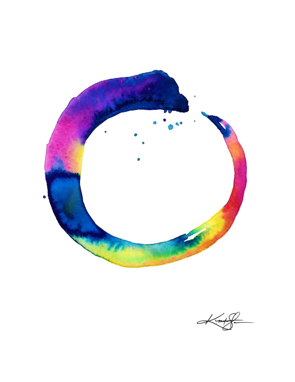 Original Enso Zen Painting Throw Pillows: Enso Painting Zen Circle Art Abstract Spiritual Giclee