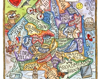"Worcester Massachusetts Neighborhood Map Art Print 11"" x 14"""