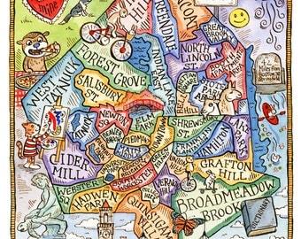 "Worcester Massachusetts Neighborhood Map Art Print 8"" x 10"""
