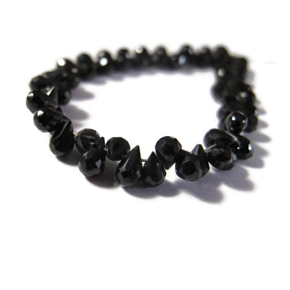Tiny Black Spinel Briolette Beads, Four Inch Strand of Little Black Gemstones for Making Jewelry, about 64 Natural Gemstones (B-Sp3a)