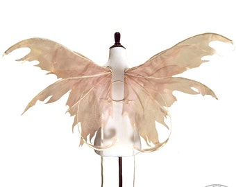 Dawn No.3 - Large Fairy Wings in Rose and Ivory - Strapless Convertible
