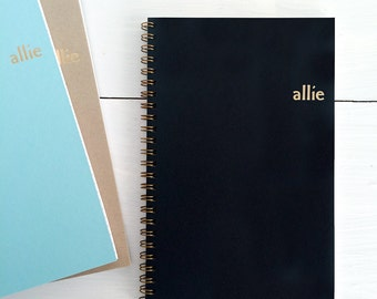 personalized gold foil pressed spiral notebook | custum cover with name and choice of color and lined, dot grid or blank pages | recycled