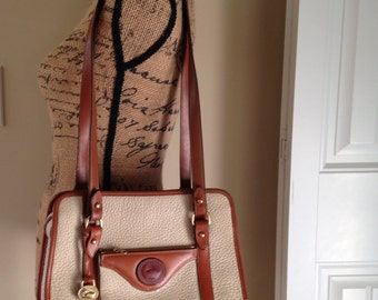 Vintage Dooney and Bourke, Dooney and Bourke British Tan Leather, Bone Color, Pebbled Leather, Vintage Handbag, Etsy, Etsy Vintage