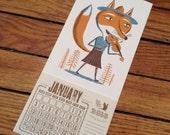 FOXY FIDDLER  mini calendar for 2017 Hand Printed Letterpress