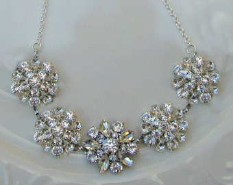 Crystal and Silver, Wedding Necklace, Bridal Jewelry, Statement Necklace, Vintage Style, Clear Rhinestone