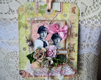 HEART YOU - mixed media tag - ornament - NO268