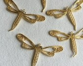 CLEARANCE LOT 5PCS Filigree Dragonfly Pendants with Crystal Rhinestone Eyes, Gold Plated