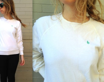 1980's Velour Sweatshirt // Hunt Club // White Sweater // Women's Medium // Polo // Golf // Fitted // Retro // Soft Bright Green Horse Logo