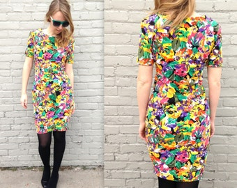 1980's Tropical WIGGLE Dress // Shoulder pads // Women's Medium // Stretchy Dress // Beach Party // Summer Spring // Women's M // Neon Color