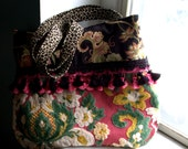 RESERVED for Patti  Vintage French Tapestry Tote , cream tassel and black floral bags