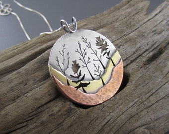 Big Heritage Trail Woodland Forest Mixed Metal Handmade Pendant