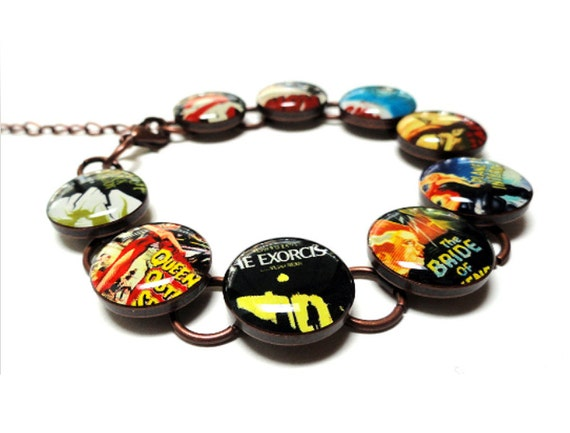Scary Movie Bracelet, Retro Bracelet, Resin Jewelry, Handmade Bracelet, Resin Bracelet, Handmade Jewelry, Halloween, Old Movie, Horror Movie
