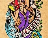 Old School Tattoo Zodiac Art AQUARIUS Water Bearer Astrology Print 5 x 7, 8 x 10 or 11 x 14