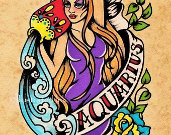 AQUARIUS Zodiac Print Tattoo Art Astrology Sign 5 x 7, 8 x 10 or 11 x 14