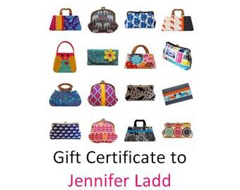 40 dollar gift certificate to Jennifer Ladd's shop, Gift card, Email gift card, Printable gift certificate, Handmade handbags, Gift voucher