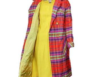 Vintage Leslie Fay 1960 1970 Plaid Jacket/Coat-Double breasted-Large size-Bust 40-Mod dress not incld-Purple/orange/yellow