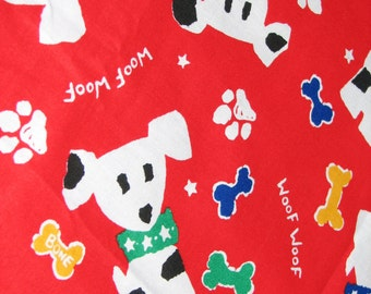 Fully Reversible Triangle Tie Dog Bandana Scarf 28 inches M/L Dogs Paw Prints Bones Red