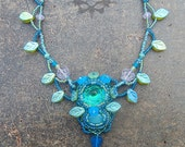 Garden Goddess Beaded Cabochon Necklace in Seafoam, Aqua and Teal.