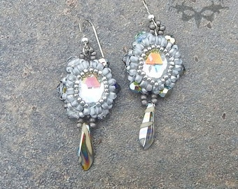 Frosted Silver Beaded Cabochon Earrings with Vintage Cabs, Swarovski Crystal and Sterling Silver Earring Hooks