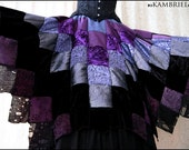 RESERVED for Samantha - Twilight Garden Patchwork Skirt by Kambriel - Silk and Velvet - Extra Full One of A Kind - Brand New & Ready to Ship