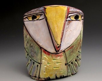 "Owl art, ceramic owl figurine, 3-7/8"" tall, ""Owl Person Empowered by Grandfather Sun"""