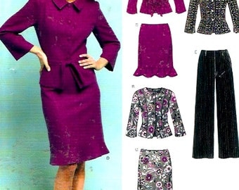 Jacket skirt pants womens suits office day wear evening sewing pattern New Look 6412 Size 8 to 18 Uncut