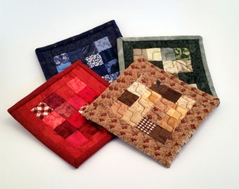 Handcrafted Quilted Coaster Set of 4 Fun Colors