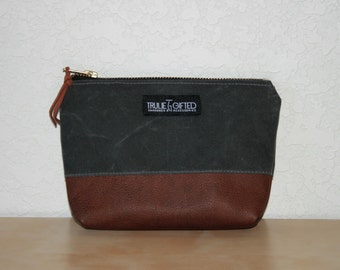 Gray Waxed Canvas and Leather Zipper Pouch