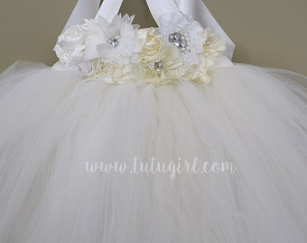 Off White Tutu Dress, Off White Flower Girl Tutu Dress
