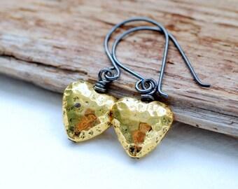 Hammered Brass Earrings, Heart Earrings, Dangle Earrings, Rustic Earrings, Cottage Chic, Romantic Earrings, Brass Jewelry