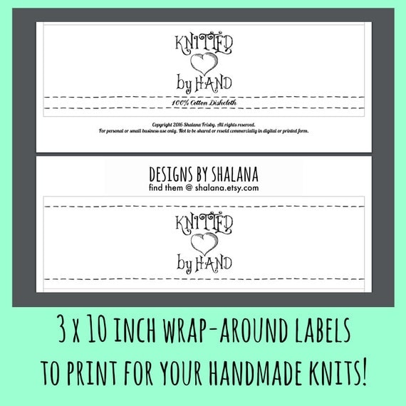 Items similar to Printable PDF KNIT Wrapper Style Labels ...