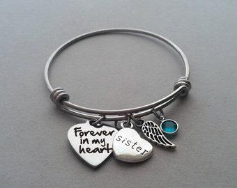 Forever In My Heart Bracelet, Sister Memorial Bracelet, Sibling Loss Bracelet, Loss Of Sister, Remembrance Charm Bracelet, Stainless Steel