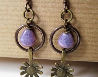 Sunflower and Purple Czech Glass Beaded Niobium Earrings - Bloom
