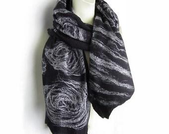 Hand Felted Scarf Shawl Extra Fine Black Merino Wool and Silver Grey Mulberry Silk Cobweb