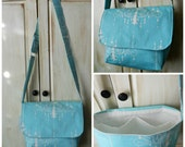 Messenger Bag - Purse - Tote - Blue and White - Shabby Chic